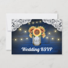 Sunflower Mason Jar Blue Wood Wedding RSVP Cards