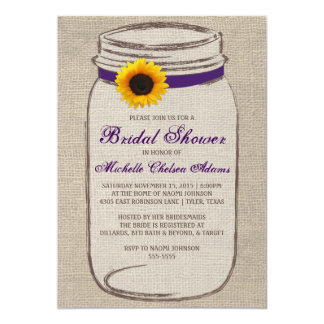 "Sunflower Mason Jar Bridal Shower Invitation 5"" X 7"" Invitation Card"