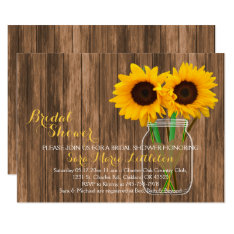 Sunflower Mason Jar Bridal Shower Invites at Zazzle