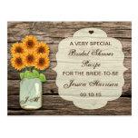 Sunflower Mason Jar Bridal Shower Recipe Cards Postcard