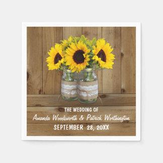 Sunflower Mason Jar Burlap   Lace Wedding Napkins
