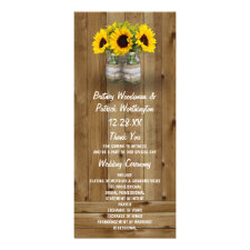 Sunflower Mason Jar Burlap + Lace Wedding Programs