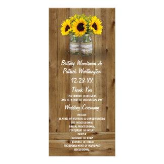 Sunflower Mason Jar Burlap + Lace Wedding Programs