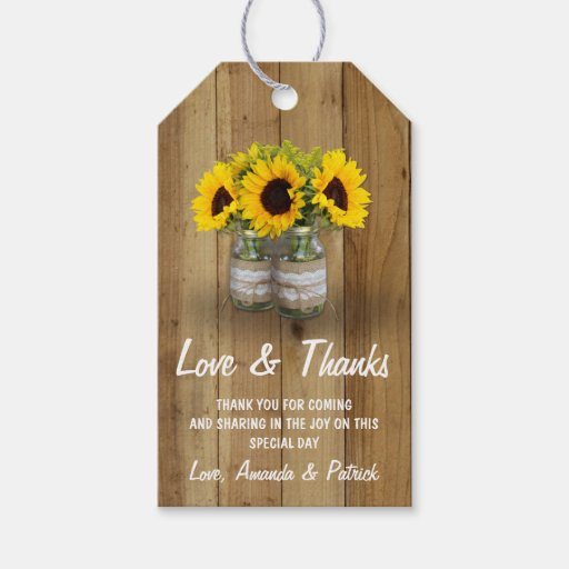 Sunflower Mason Jar Burlap Lace Wedding Thank You Gift Tags