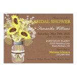 Sunflower Mason Jar Burlap Rustic Bridal Shower Card