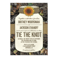 Sunflower Mason Jar Camo Wedding Invitations
