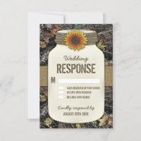 Sunflower Mason Jar Camo Wedding RSVP Cards