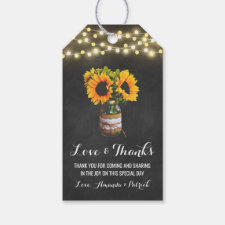 Sunflower Mason Jar Chalkboard Wedding Thank You Gift Tags