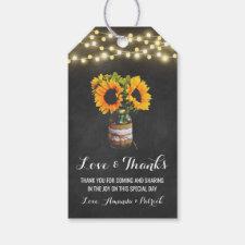 Sunflower Mason Jar Chalkboard Wedding Thank You Gift Tags