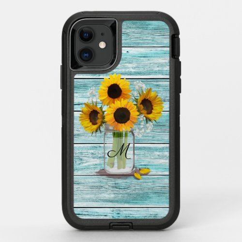 Sunflower Mason Jar Monogram Phone Case
