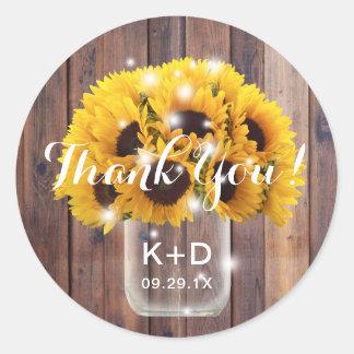 Sunflower Mason Jar Rustic Barn Wedding Thank You Classic Round Sticker