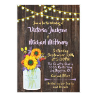 Sunflower Mason Jar Rustic Wood Wedding Invitation