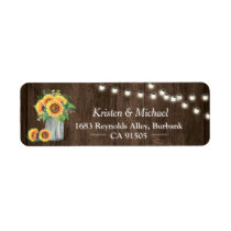 Sunflower Mason Jar String Lights Rustic Wood Label