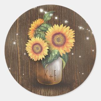 Sunflower Mason Jar Wedding Lights Rustic Classic Round Sticker