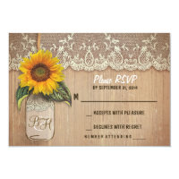 sunflower mason jar wedding RSVP cards 3.5&quot; X 5&quot; Invitation Card (<em>$1.96</em>)