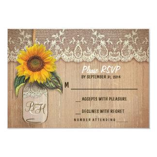 "sunflower mason jar wedding RSVP cards 3.5"" X 5"" Invitation Card"