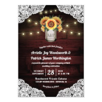 Sunflower Mason Jar Wood Lace Wedding Invitations