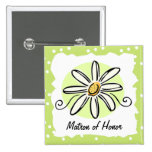 Sunflower Matron of Honor Square Button