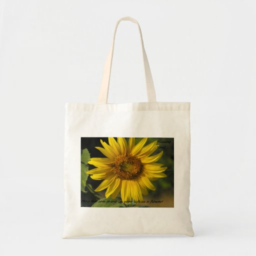 "Sunflower ""Missing You"" Tote Tote Bags"