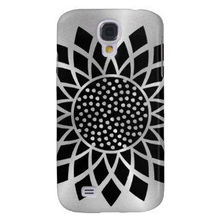 Sunflower Modern (Black on Silver Button) Samsung Galaxy S4 Case