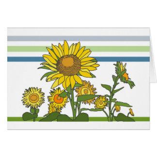Sunflower + Modern + Stripes Greeting Card