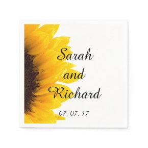 Sunflower Modern Wedding Paper Napkins