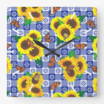 Sunflower Monarch Butterflies Blue Gingham Pattern Square Wall Clock