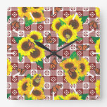 Sunflower Monarch Butterflies Red Gingham Pattern Square Wall Clock