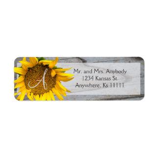 Sunflower Monogram barnwood labels