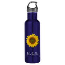 Sunflower Monogram Floral Blue Stainless Steel Water Bottle