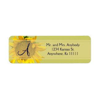 Sunflower Monogram Return Address Label