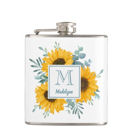 Sunflower Monogram Name Personalized Flask