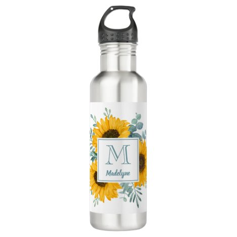 Sunflower Monogram Name Personalized Stainless Steel Water Bottle