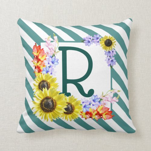 Sunflower Monogram Teal Stripes Throw Pillow