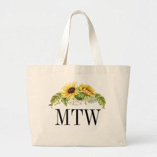 Sunflower Monogram Tote