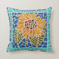 Sunflower Mosaic Throw Pillow