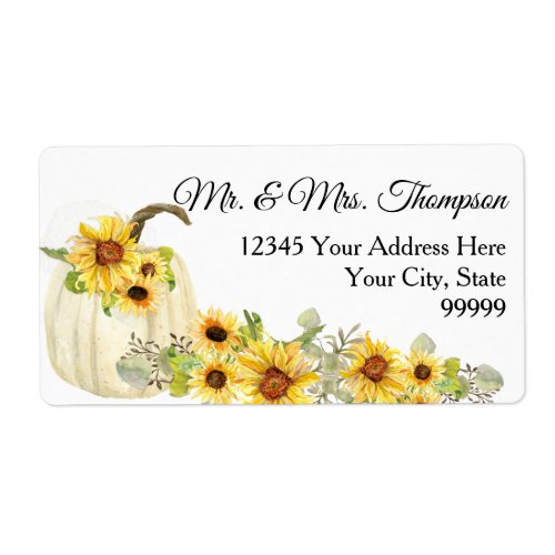 Sunflower Mustard Floral Watercolor White Pumpkin Label