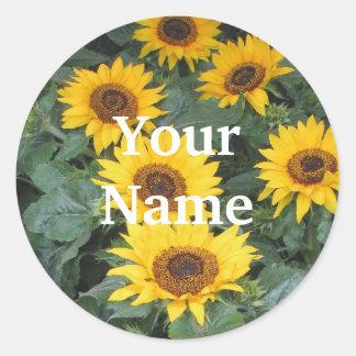 Sunflower Name Tags Round Sticker
