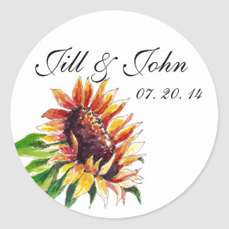 Sunflower Names Date Wedding Favour Stickers
