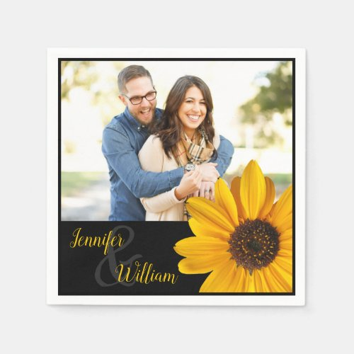 Sunflower napkin with couple's name & photo. Sunflower napkin with couple's name & photo Bright, yellow sunflower napkin; customize with couple's names and photo. Perfect for rehearsal dinner or casual wedding reception.