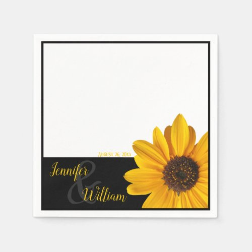 Sunflower napkin with couple's name & wedding date