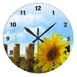 Sunflower Nature Beauty Large Clock