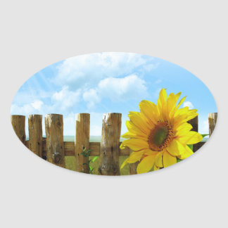 Sunflower Nature Beauty Oval Sticker