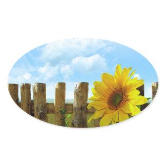 Sunflower Nature Beauty Oval Sticker