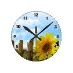 Sunflower Nature Beauty Round Clock