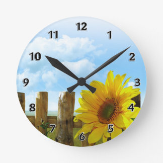 Sunflower Nature Beauty Round Clock