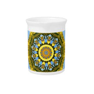 Sunflower Nature, Flower-Mandala (Blumen-Mandala) Beverage Pitcher