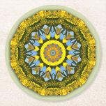 Sunflower Nature, Flower-Mandala Round Paper Coaster