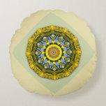 Sunflower Nature, Flower-Mandala Round Pillow