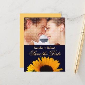 Sunflower Navy Blue Custom Photo Save the Date Announcement Postcard